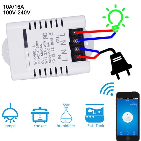 Smart Wifi Switch Drahtlose DIY-Automatisierungsmodule mit Timer-Ein-Aus-Schalter Für Smart Home 10A / 16A AC100-240V