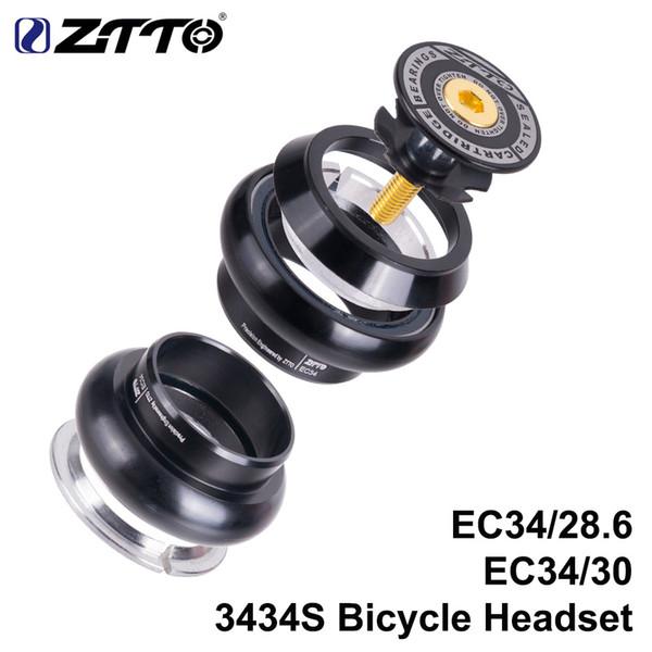 ZTTO 3434s MTB Bike Road Headset 34mm EC34 CNC 1 1/8 28.6 Tenedor de tubo recto Interno 34 Auriculares sin rosca convencionales