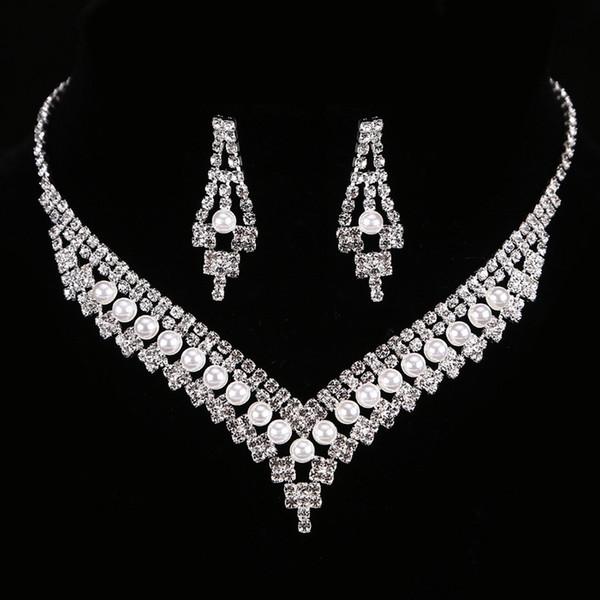 FEIS Lüks elmas İmitasyon İnci çok katmanlı gelin moda aksesuarları oymak düğün kolye ve küpe seti