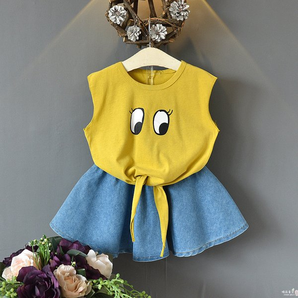 Cute Eye Pattern Girls Summer Clothes 2019 New Casual Children Clothing Set Yellow Shirt Denim Skirt Little Kids Suits for Girl