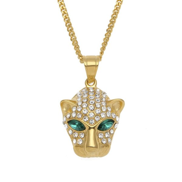 HipHop Iced Out Bling Leopard 4.5CM Pendant Necklaces CZ Three A Zircon Animal Shape Men Hip Hop Chain Jewelry