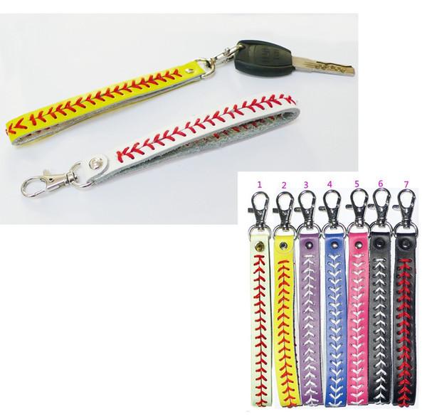 7 couleurs en cuir porte-clés équipe softball baseball bandeaux coutures bandes de cheveux cousu LE262