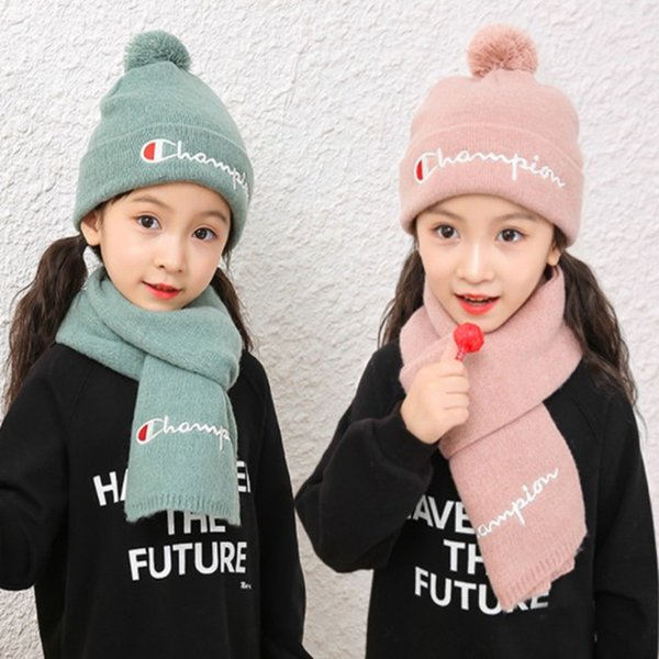 Kids Baby knit hat scarf set letter print Children Scarf Hat Pompon Winter Children Beanie Cap Scarf 2pcs set LJJK1729