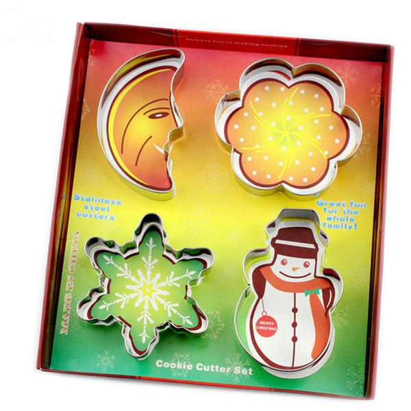 DIY Baking mould Stainless Steel CHRISTMAS Cookie Cutter Set,include Moon, Plum flower,snowflake,Snowman