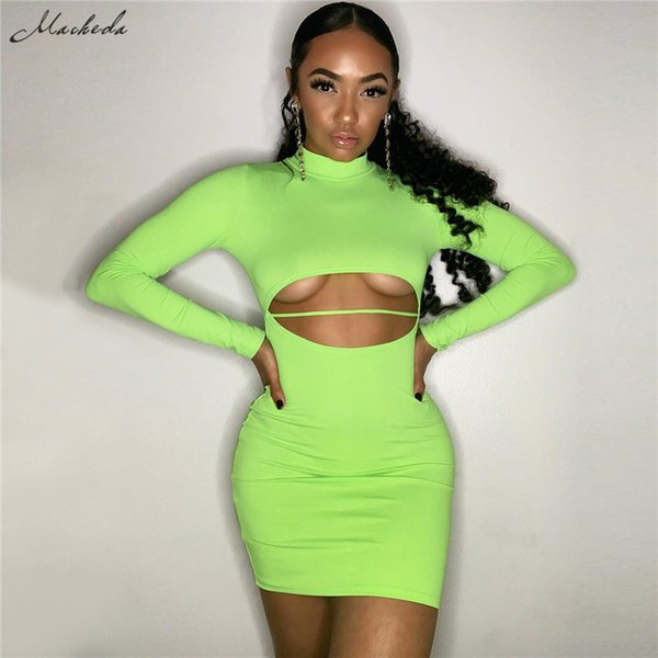 wholesale Casual Dress Turtleneck Long Sleeve Hollow Out high Waist Solid Dresses 2019 New Spring Women Fashion Sheath Dress