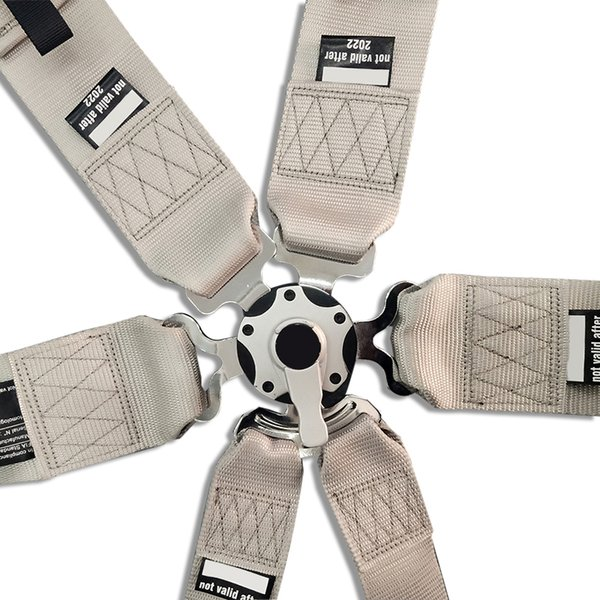 Hot sale New 1 pcs 3'' 6-Point Seat Belts with logo Competition Snap-In seat Belt Racing Harness safety belt silver SP01
