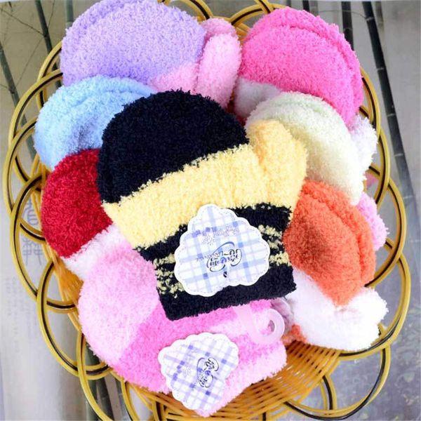 Los guantes del dedo Warmom felpa caliente gruesa Guantes de invierno para bebés, además de terciopelo manoplas niños de los niños polar de coral completo para 1-6 años