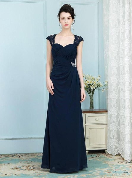 2019 A-Line Elegant Mother of the Bride Dresses Lace Beading Square Neck Navy Blue Chiffon Mother Formal Dress Wear for Wedding