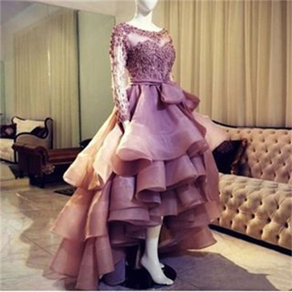 Sweety High Low Puffy Prom Dresses Appliqued 2019 High Quality Organza Sheer Long Sleeves Party Dress A Line Ruffle Evening Formal Gowns