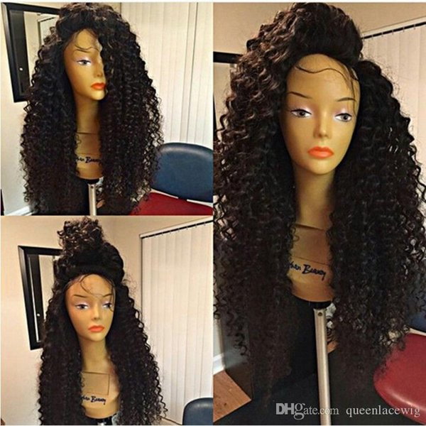 Free shipping Cheap High Quality Heat Resistant Japan Fiber Long Black Kinky Curly Synthetic Lace Front Wigs With Baby Hair for Black Women