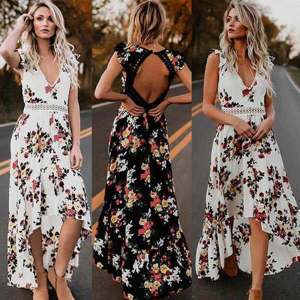Brand Fashion Newest Womens Summer Boho Maxi Dress Clubwear Party Beach Holiday Sundress Flower Asimmetrico Abiti casual abiti firmati
