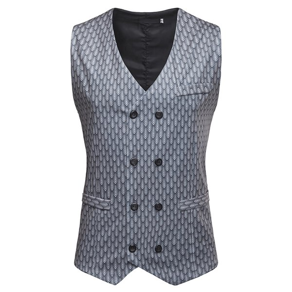 Spring Summer Men Vest Sleeveless Business Casual Vest Men Sleeveless Printed Clothes 2019