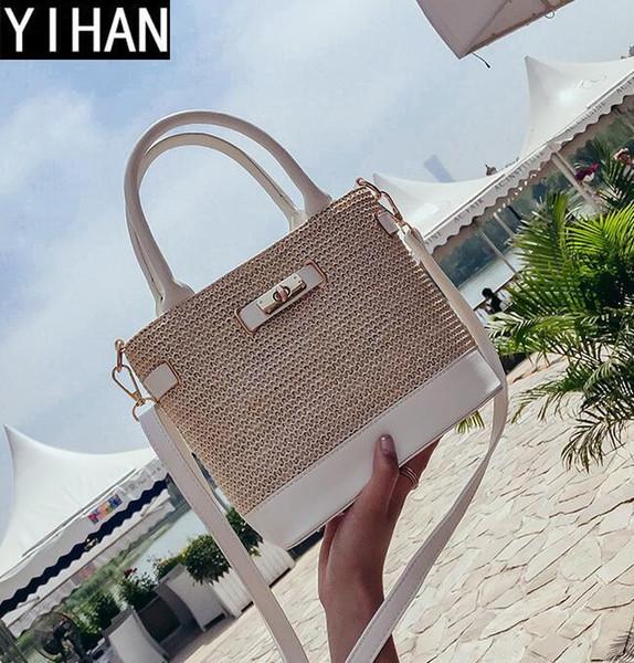 Factory independent brand handbag simple handmade straw beach bag street hit color leather woven hand shoulder bag summer new lock straw bag