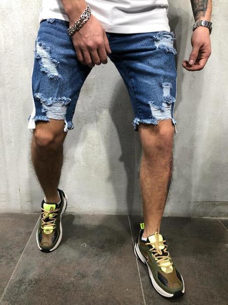 Ropa Deportiva Hombre Denim Shorts Herren Weiß Side gestreifte Jeans Men Loch Short Jean Homme Slim Fit Männer Shorts Jeans Masculino