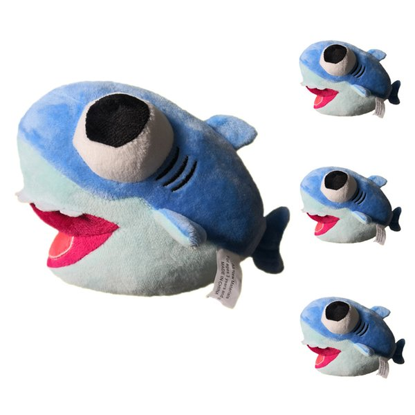 25 CM Big Eye Shark Peluches Jouets décoration parti faveur bébé Requin De Bande Dessinée Animal En Peluche Poupées Enfants Cadeau voiture décor FFA1675