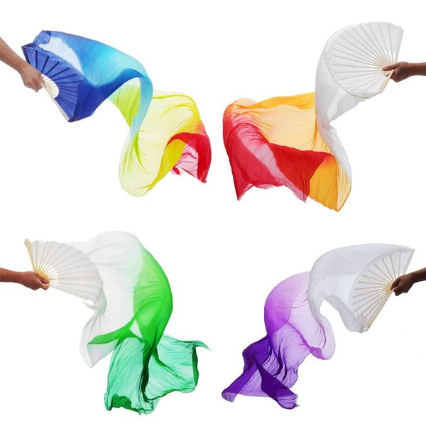 2 pcs 180cm Long Kids Women Belly Dance 100% Silk lengthened Fan Veil 1 Pair Gradient Color Dance Practice Long Fan Props