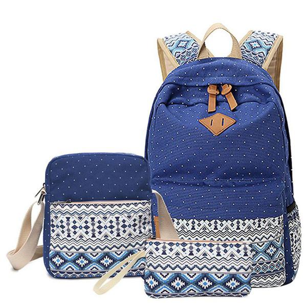 3 Pcs / ensemble Polka Dot Impression Femmes Sac À Dos Mignon Léger Toile Bookbags Middle High School Sacs Pour Les Adolescentes