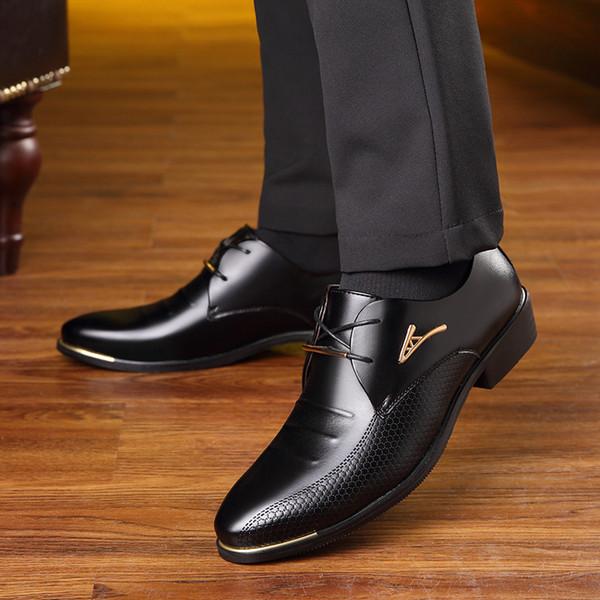 Mode Männer Kleid Schuhe Spitz Schnürschuh herren Business Casual Schuhe Braun Schwarz Leder Oxfords HH-615