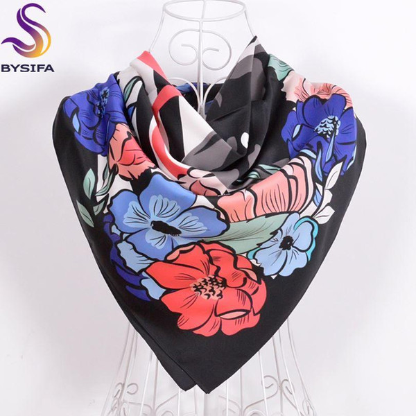 [BYSIFA] Women Matt Satin Square Scarves Printed 2016 New Design Winter Navy Blue Flowers Leopard Silk Scarf Spring Silk Muffler