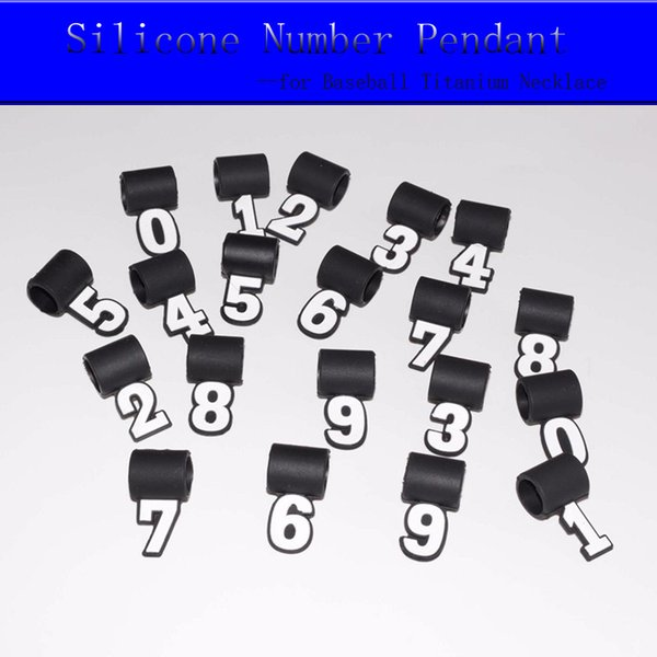 Silicone Number Pendant for Baseball Titanium Necklace Match Jersey Number