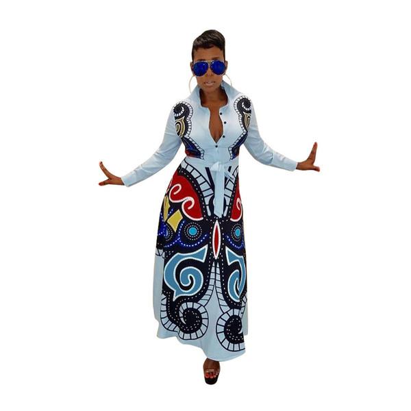 Women Dress 3d Butterfly Printed Long Sleeve Turn-down Neck High Waist Flare Long Maxi Dress Casual Vestidos designer clothes