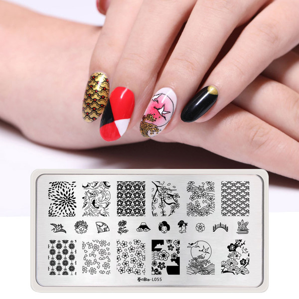 Harunouta Nail Stamp Template Japanese Style Rectangle Stainless Steel Nail Art Stamping Plate Wave Image Print Art Decors