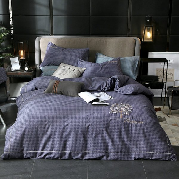 2019 New Cotton Embroidery Bedding Sets Soft High Quality 4pcs Sets Duvet Cover Pillowcase Bed Sheet Bedding Linens