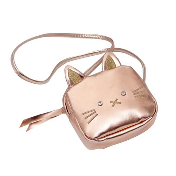 Children Small Cartoon Sling Shoulder Bag Cat Shaped Cute Rose Golden Messenger Crossbody Bags For Change Coin Child Girl Purse