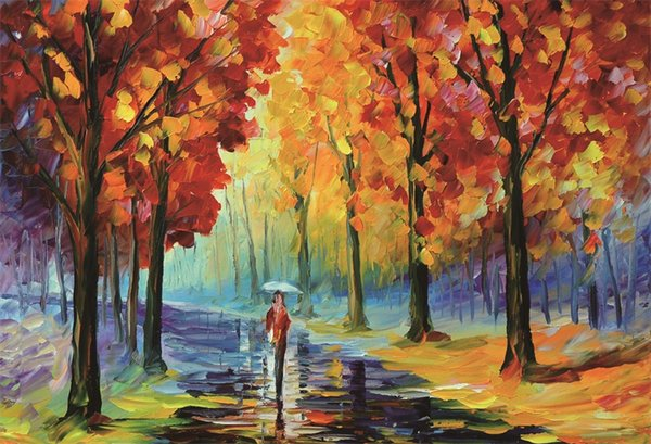Laeacco Oil Painting Autumn Trees Rainy Way People Scenic Photography Backdrops Photographic Backgrounds For Photo Studio