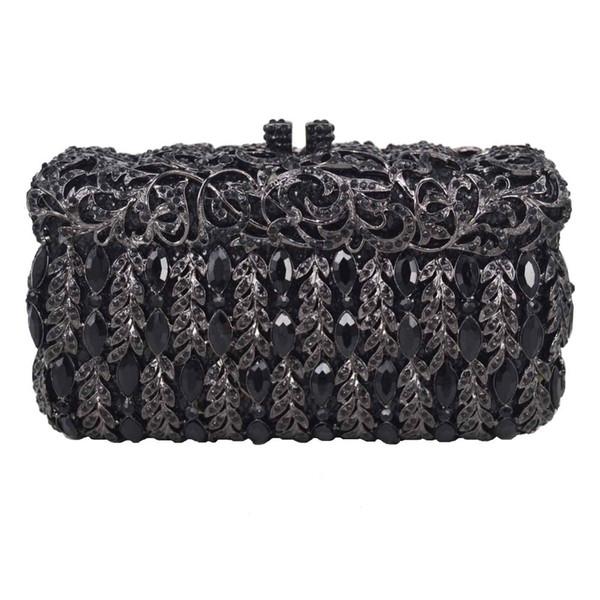 Luxury rhinestone Black Crystal Clutch Bags for Women Party Clutch Bags Wedding Chain Handbags Ladies Purse Female Wristlets A23