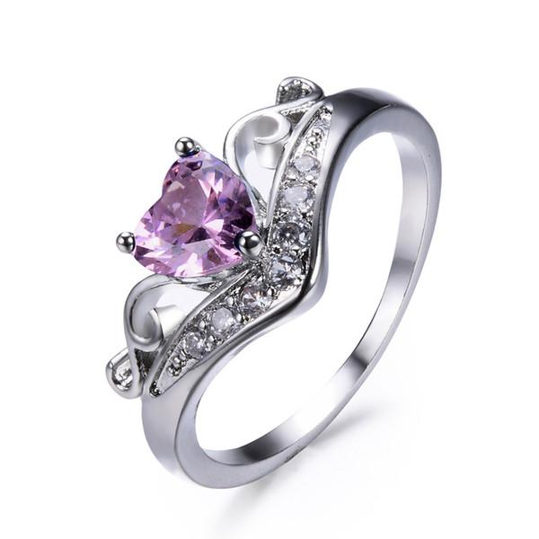 Anéis de coroa em forma de coração Estilo simples Senhora Venda quente Moda Anéis de jóias multicoloridas Jóias criativas Mulheres Euro-Americanas