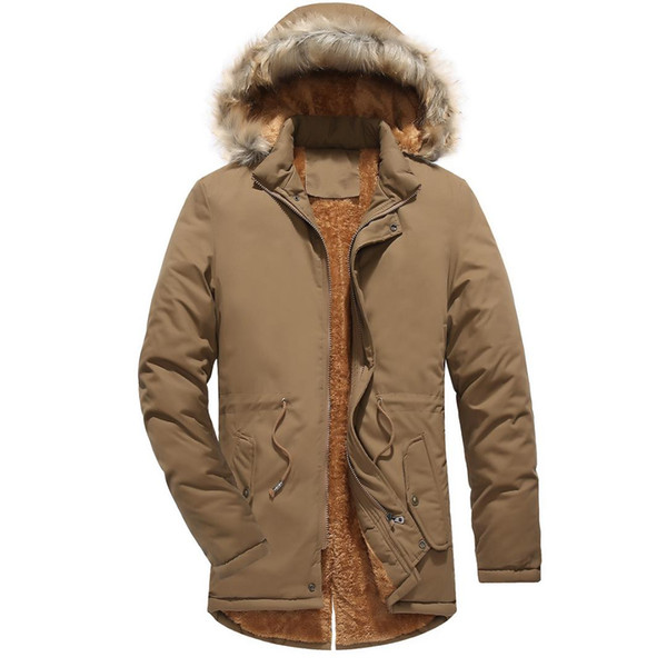 2019 Cotton Fur Parka Men Coats Winter Jacket Mens Cotton Zipper Long Sleeve Hooded clothing