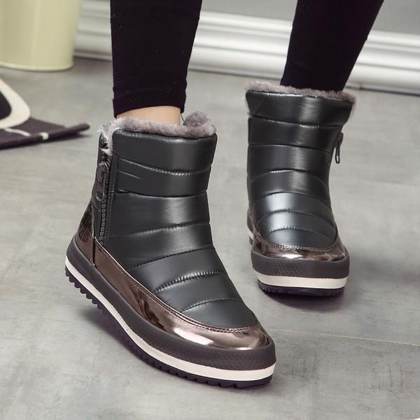 SHIDIWEIKE русские зимние сапоги для женщин сторона молния женская зимняя обувь Женские ботинки снега удобные женские ботинки M045
