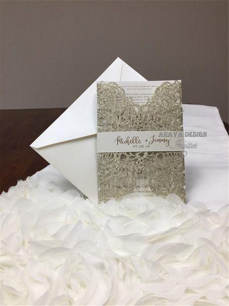 More Colors Glitter Laser Cut Wedding Invitations Gold Glitter Wedding Die Cut Rose Gold Glitter Laser Rose invitation