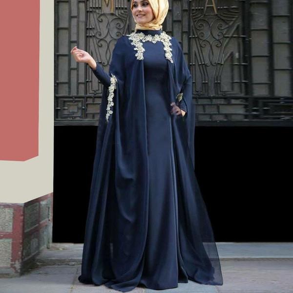Kaftan Abaya Muslim Evening Dresses High Neck Long Sleeve Middle East Dark Navy Dubai Arabic Prom Dress Islamic Formal Party Gowns No Hijab