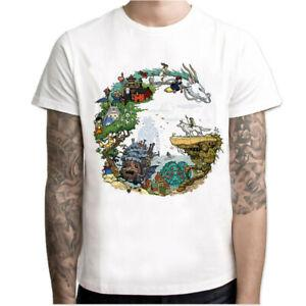 Totoro T-Shirt Tee Estúdio Ghibli Miyazaki Hayao Anime Espírito Fora De Manga Curta