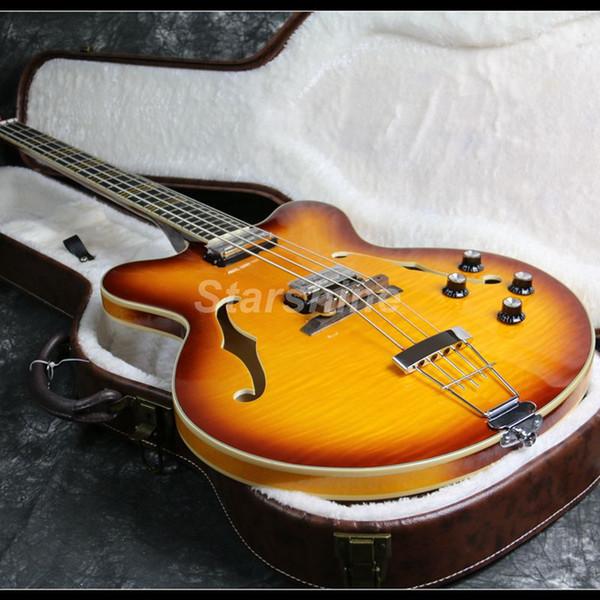 2019 Top Quality 4 Strings Hofner Basse électrique guitare Flame Maple Top placage Semi-creux corps