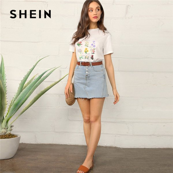 SHEIN Botanical Floral Print Short Sleeve T Shirt Women Casual Round Neck Regular Summer Top 2019 Streetwear Basic White Tshirt
