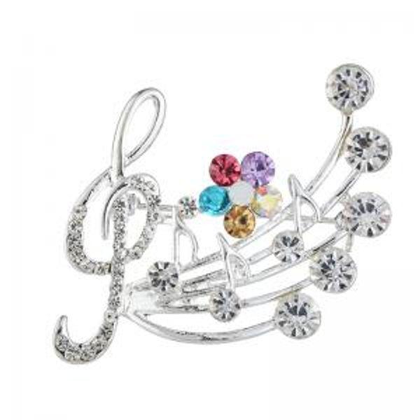 Nota musicale di cristallo Spilla Pins Spille fiore delicato gioielli da sposa spille donne accessorio accessorio corpetto LJJW104