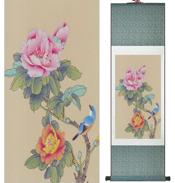 Tinta China Pintura De Pájaros Y Flores Tradicional Primavera Seda De Primavera Pajaritos Y Pintura De Flores