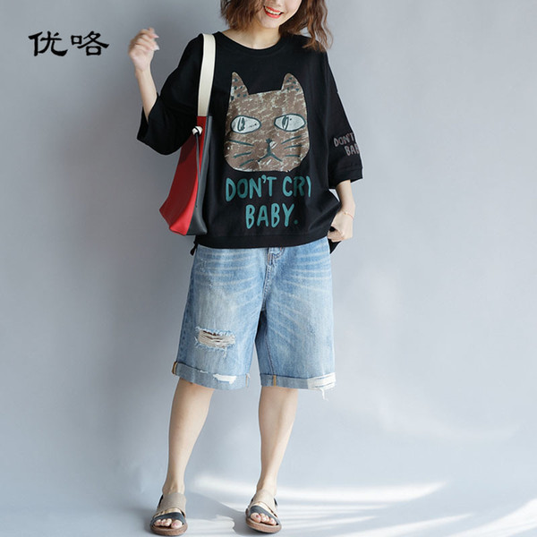 Plus Size Harajuku Tshirt Donna Kawaii Cute Cartoon Cat Stampa Cotone T Sirt Femme Casual Allentato Oversize Tee Shirt 4xl 5xl 6xl Y19042501