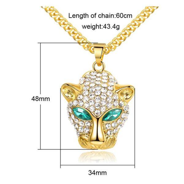 Legierung Leopard Kopf Hip Hop Halskette Gold Punk Stil Anhänger Halsketten Überzug Edelstahl Mode Halsketten