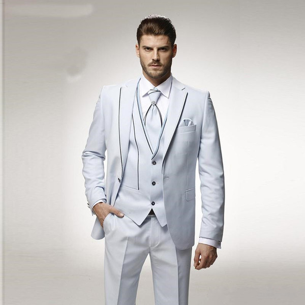 New White Men Suits Wedding Groom Tuxedos 3 Pieces (Jacket+Pants+Vest) Prom Wear Italian Best Man Blazer Bridegroom Suits 408