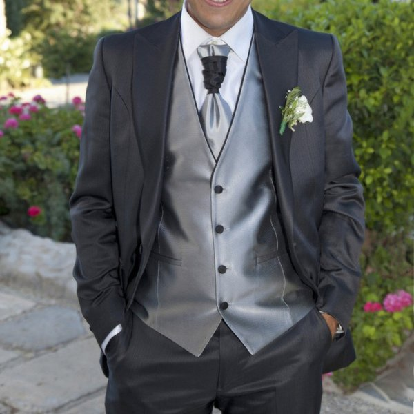 Abito da uomo su misura per uomo da sposa Best Groomsmen Suit Groom Tuxedo Jacket + Pants + Vest A Set Formal Business