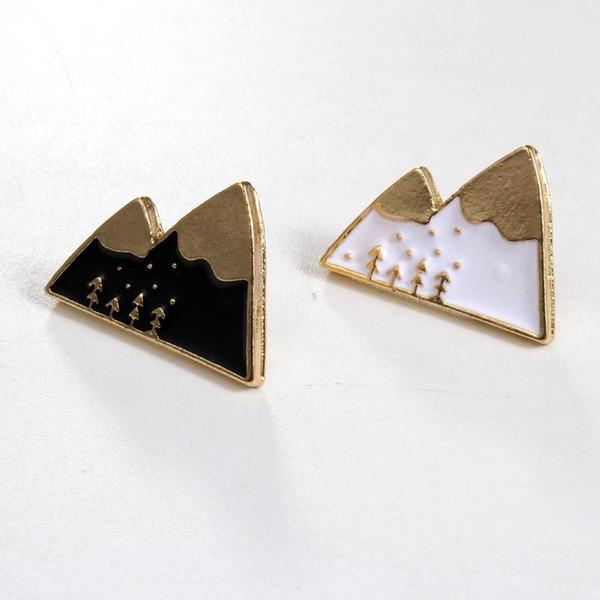 Vente en gros - 1pc émail en alliage Harajuku Kawaii blanc noir montagne Broche Badges épinglettes épingles de sécurité Safe Echarpe Cool Boy Women Jewelry.