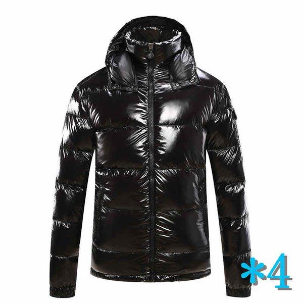 Escudo con capucha para hombre otoño invierno rompevientos capa de la manera abajo gruesa con capucha Outwear luminoso chaquetas de Asia Tamaño de la ropa de los hombres * 4