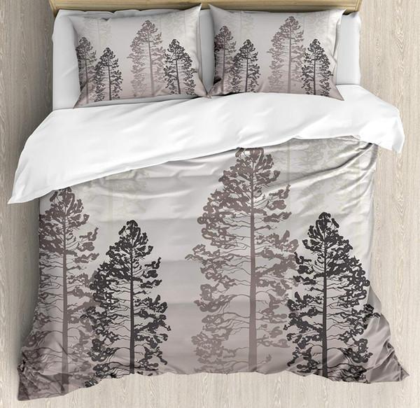 Страна пододеяльник набор Королева размер сосны в лесу Туманный кажется Ombre фон дикой природы приключения искусства постельных принадлежностей