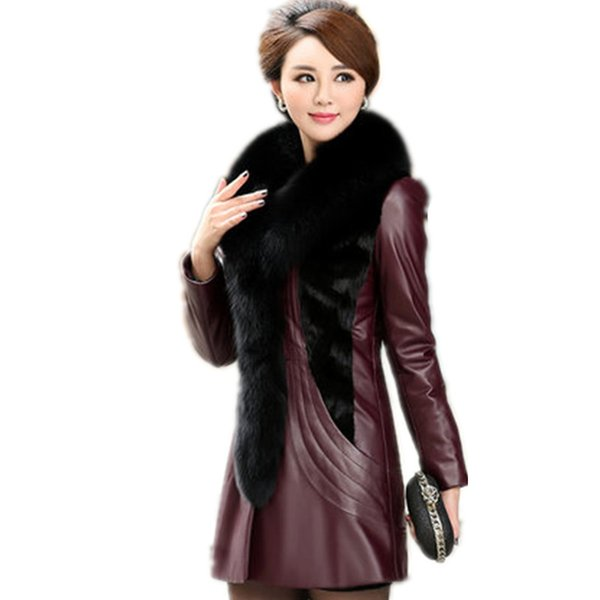 Boutique Leather jacket female medium long coat sheep leather fashion fox fur collar slim thick Coat winter plus size 7XL AS913