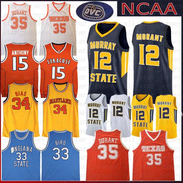 NCAA Universidad de Maryland Len 34 Bias Estado de Indiana Larry 33 Bird Basketball Jersey Carmelo 15 Anthony College University