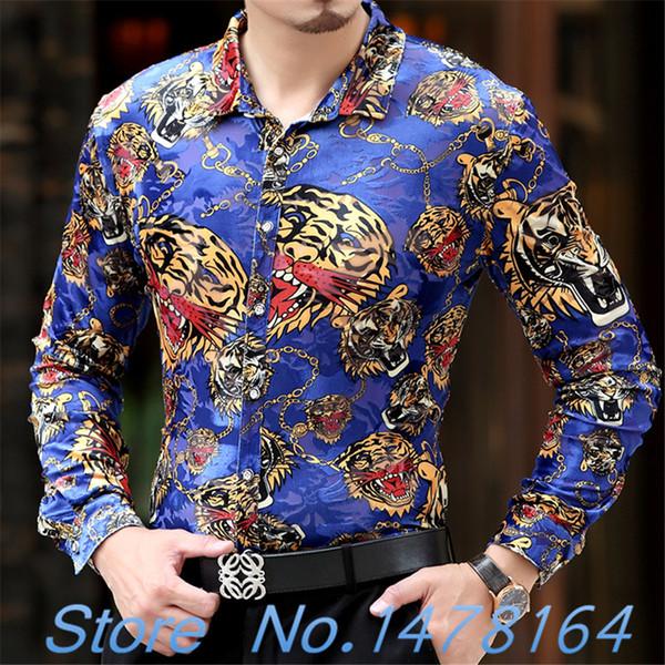 2018 luxo barroco Silk Mature Mens Dargon Tiger impressão da camisa Mens ouro camiseta Preto Chemise Slim Fit Clube Floral Hombre